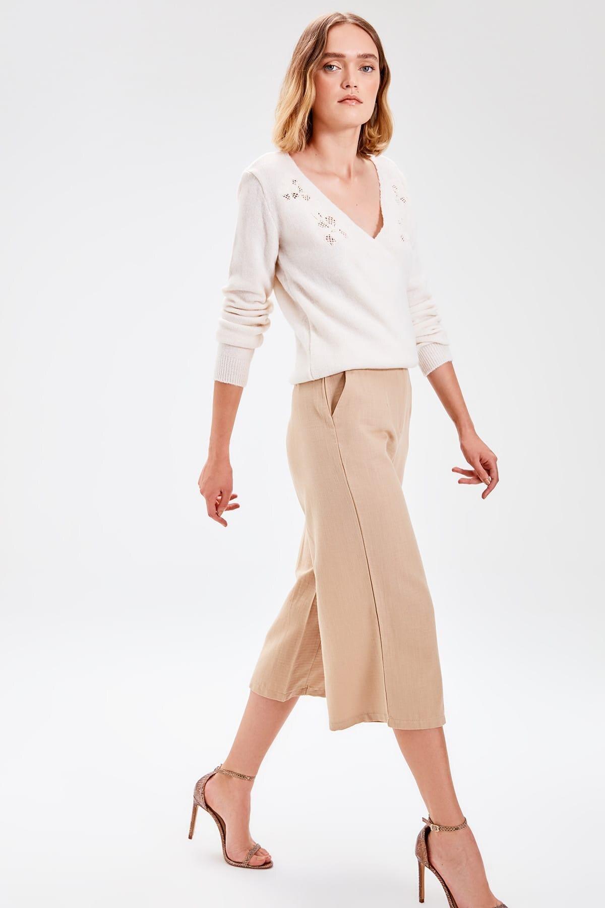 Trendyol Beige Flare Pants TWOAW20PL0020