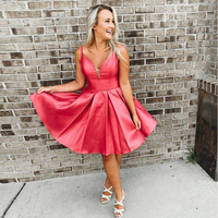 Simple V neck Watermelon Homecoming Dresses Spaghetti Straps Short Graduation Formal Party Dresses Knee Length Prom Gowns