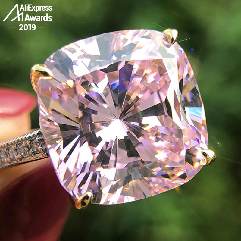 Pas faux 14*14mm bague en diamant taille coussin S925 argent sterling mariage fin citrine saphir améthyste rubis couleur diamant
