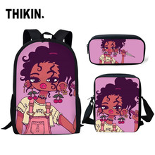 THIKIN Afro Black Girl Magic Melanin Poppin 3pcs/set Children Primary School Bags for Students Bag Custom Kids Schoolbag