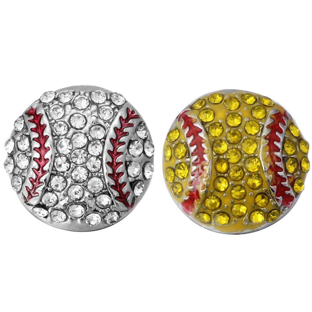 10pcs/lot New Snap Button Jewelry Oil Painting Baseball Crystal Softball 12mm Snap Buttons Fit Leather Metal Snap Bracelet image