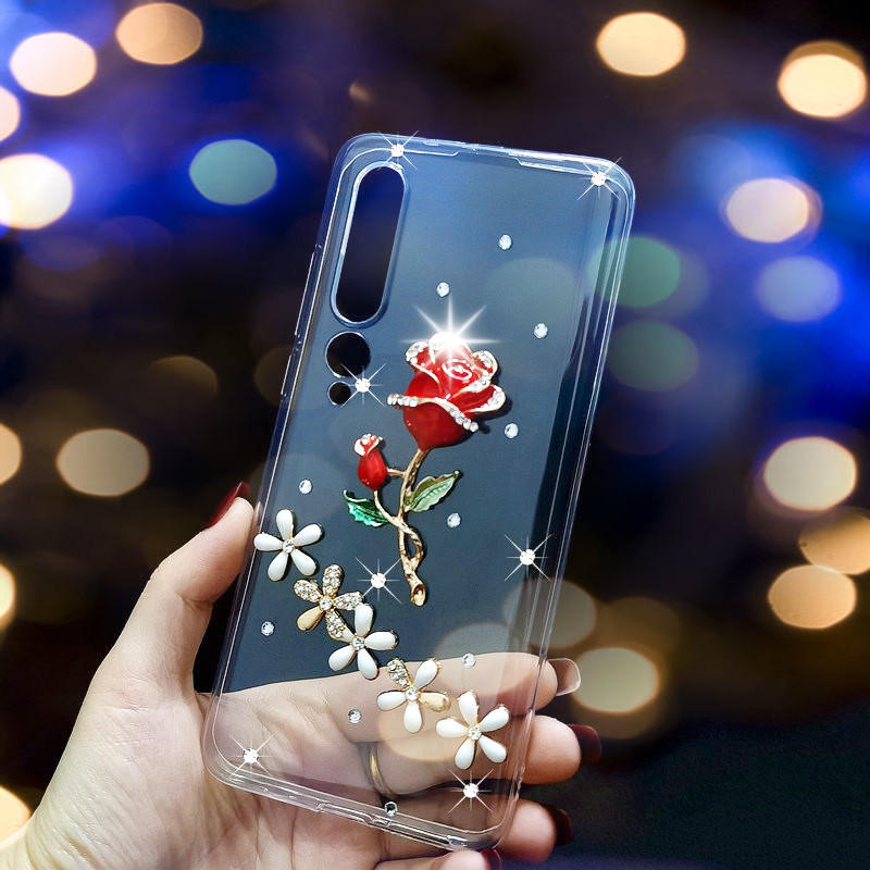 Luxury Case For Xiaomi Mi 10 Pro 5G 9 8 Lite SE Rhinstones Protective Phone Cover Redmi K20 K30 Go S2 Note 9 Pro Max 9S 8 8T 7