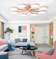 거실에 대 한 220 v led 샹들리에 현대 화이트 광택 목조 침실 조명 간단한 표면 탑재 샹들리에|인테리어 라이트|등 & 조명 -