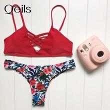 Qeils 2021 verão conjunto biquinis sexy bandagem banho floral mulher empurrar para cima maiô biquini traje de bano mujer badpak