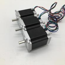 3 шт. Nema23 шаговый двигатель 6,35 мм двойной вал 57*56 мм 3A 1.2Nm 172Oz-in 2ph 4 провода высокий крутящий момент 3 оси для ЧПУ Токарный Станок