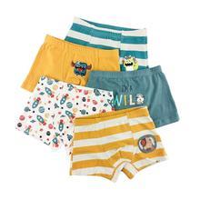 5pcs Kids Underwears Boy Pure Cotton Breathable Stripe Fashion Boxer Briefs Children Kids Boy Underwear Panties kids children boy