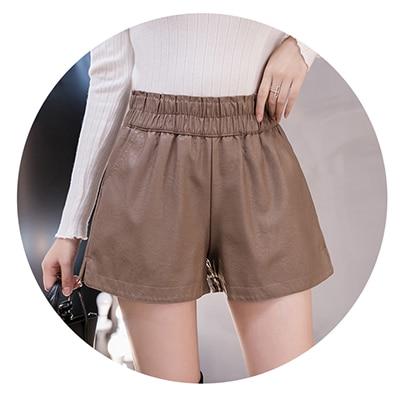 shintimes Elastic High Waist Wide Leg Biker Shorts Autumn PU Leather Shorts Women Plus Size Femme Casual Ladies Shorts Black 13