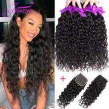 Волнипряди с застежкой, 3 пупряди, дешевые человеческие волосы, волнистые пучки с застежкой на шнуровке, перуанские пучки волос с застежкой, 100 г/пучок