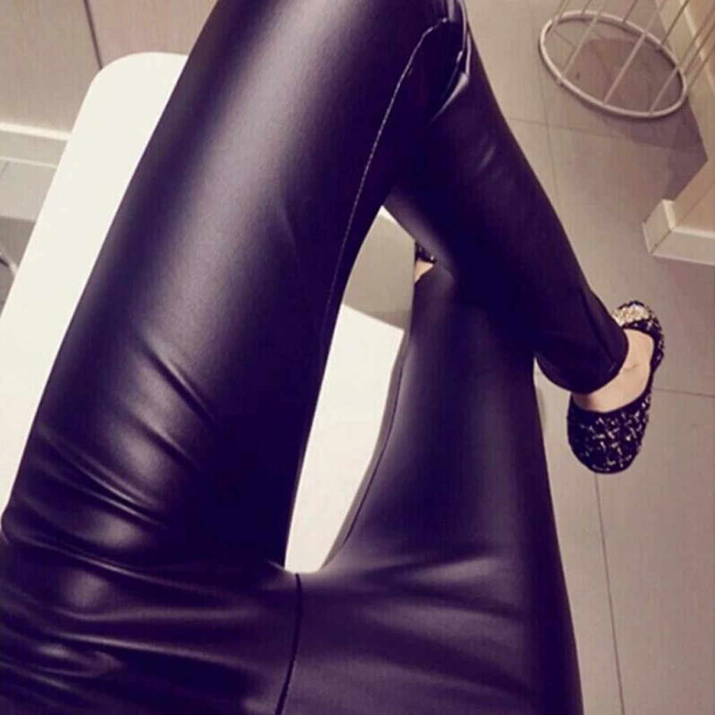 #40 moda deri tayt Push Up tayt bayan artı boyutu düz günlük pantolon seksi tayt pantolon egzersiz tayt