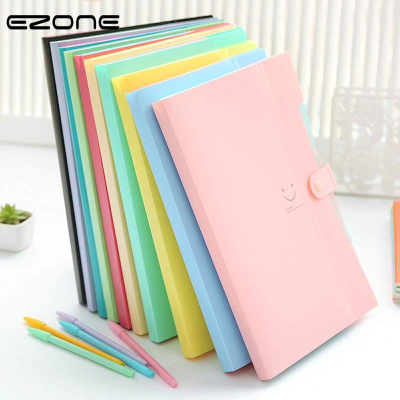 EZONE A4 File Folder 5 Pocket Expanding Wallet Office Folder Smile Face Candy Color Plastic Multi-function Folder File Storage
