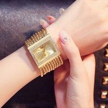 Relógios femininos de luxo! Cristal austríaco strass relógios à prova dwaterproof água moda feminina vestido quadrado relógio pulseira