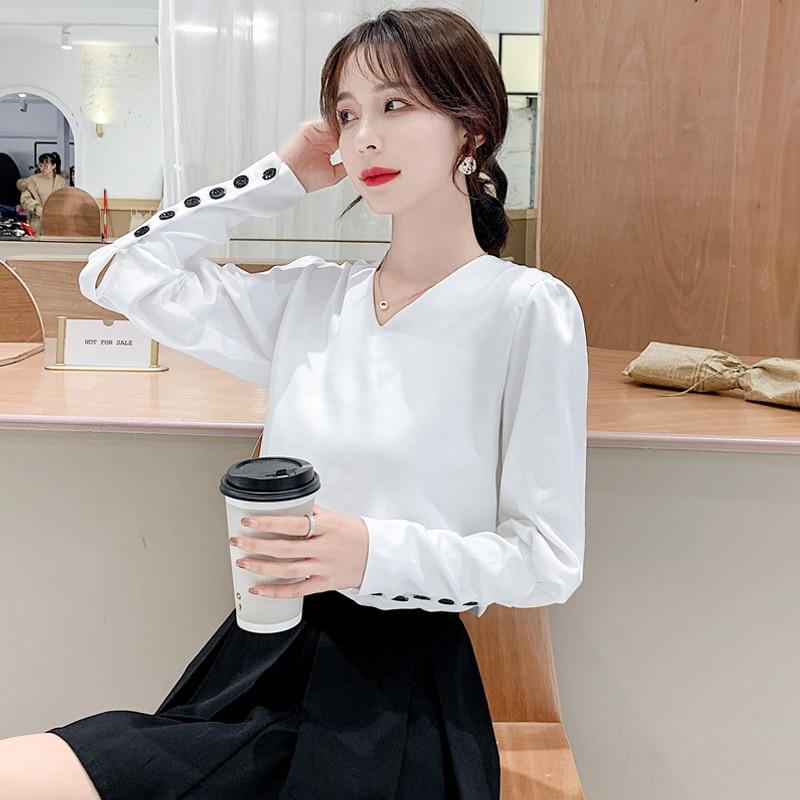 Korean Fashion Women Blouses Woman Chiffon Blouse Shirt Plus Size Tops Women White V-neck Shirts Top Blusas Femininas Elegante