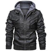 Мужская кожаная байкерская куртка veste cuir, Повседневная байкерская куртка с капюшоном, 4XL, на осень и зиму
