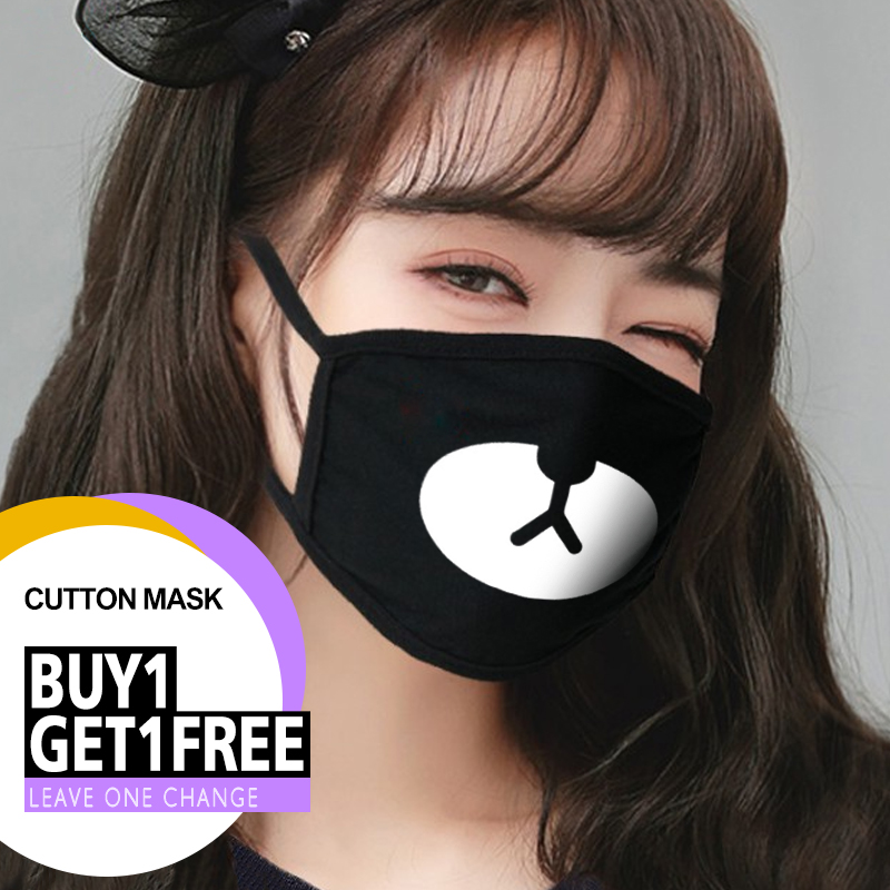 Fashion Black Cute Face Mask Reusable Washable Unisex Cotton Mouth Mask Cover Proof Bacteria Anti Dust Proof Half Face Flu Mask