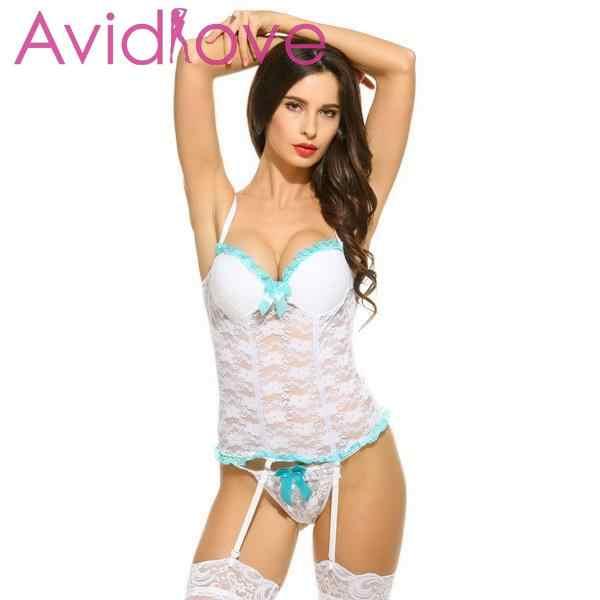 Sexy lingerie de renda babydoll sleepwear transparente estilingue laço tentação roupa interior liga bowknot feminino conjuntos exóticos