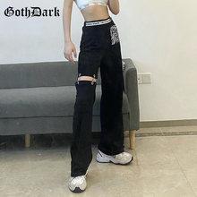 Готические лоскутные брюки goth dark e girl черные широкие с