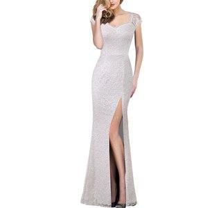 Image 2 - Vfemage Womens Vintage Shiny Snakeskin Lace Sexy Keyhole Back Cutout High Slit Formal Evening Wedding Party Maxi Long Dress 060