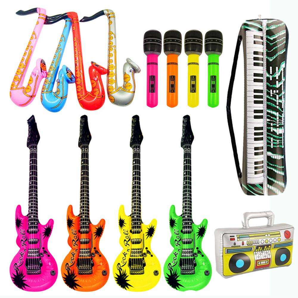 14cps Inflatables Guitar Saxophone Microphone Balloons Musical Instruments Toy Accessories For Kids Swimming Pool Party Supplies