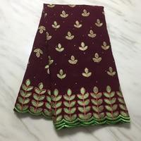 Tela africana de algodón con bordado de hojas, tejido de brocado de guinea, con diamantes de imitación, 5 yardas, tissu broderie, africano, suisse, coton
