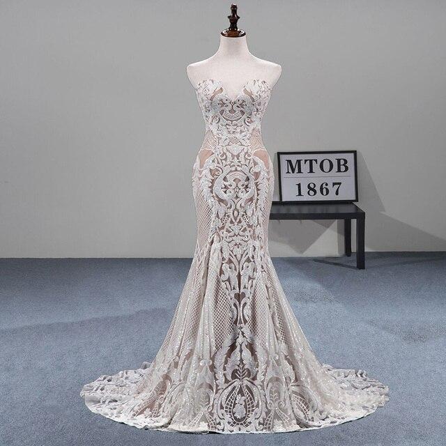MTOB הכי חדש תחרת בת ים חתונת שמלת Applique עמוק מתוקה ללא משענת שמפניה כלה שמלות