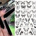 Черные наклейки с бабочками для ногтей весенне-летний цветочный дизайн ногтей, наклейки для маникюра для переноса воды обертывание Декор ...