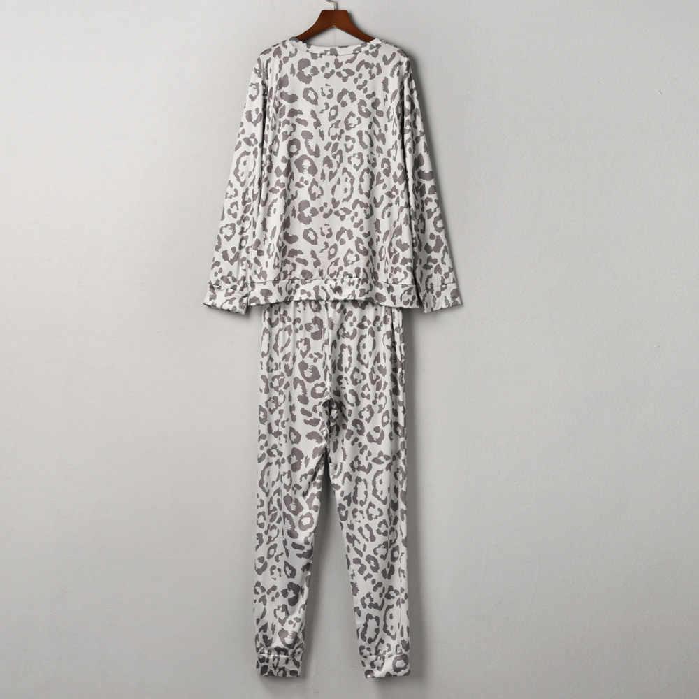 Womail منامة للمرأة الترفيه طباعة المنزل فتاة عادية ليوبارد طباعة كم طويل تي شيرت + السراويل الطويلة ملابس خاصة Homewear P924