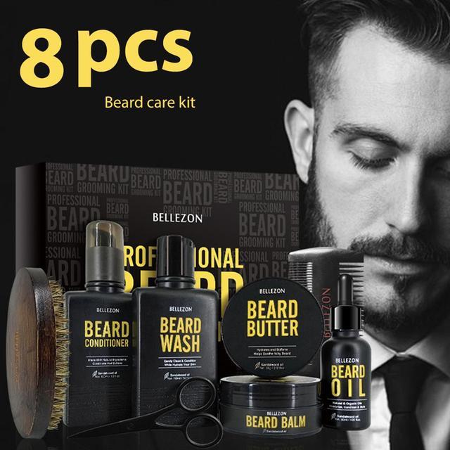 Blue ZOO 8Pcs/set Men Beard Care Kit Beard Shaving Cream Aftershave Cleaning Care Nourishing Shaping Male Beard Care Set 1