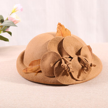 Otoño Invierno flor lana boina sombrero mujer británica elegante novia regalo mujer invierno Australia lana Vintage Floral