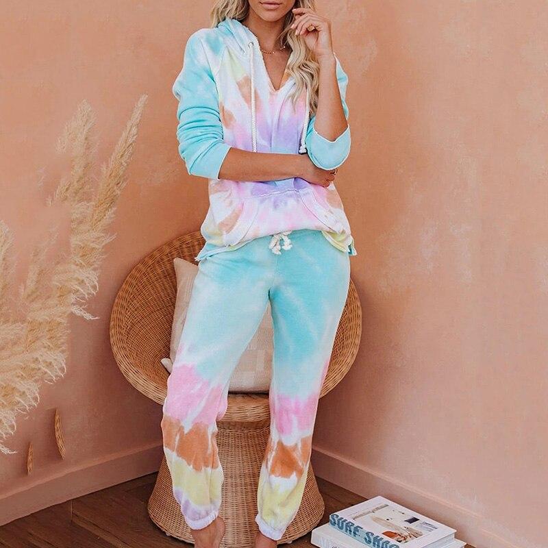 Tie Dye Women Pajamas Long Sleeve Tops and fit pants Hooded pijamas feminino Set Nightwear Casual Sleepwear