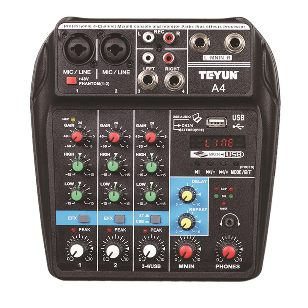 A4 Sound Mixing Console Bluetooth USB Record Computer Playback 48V Phantom Power Delay Repaeat Effect 4 Channels USB A