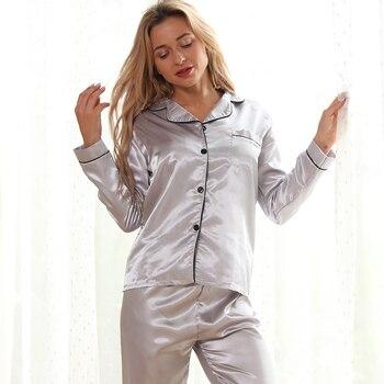 Women Pajamas Set Sleepwear Winter Long Sleeve Mujer Pijamas Nuisette Sexy Lingerie Nightwear Silk Satin Pyjamas pjs Suit 2Pcs 10