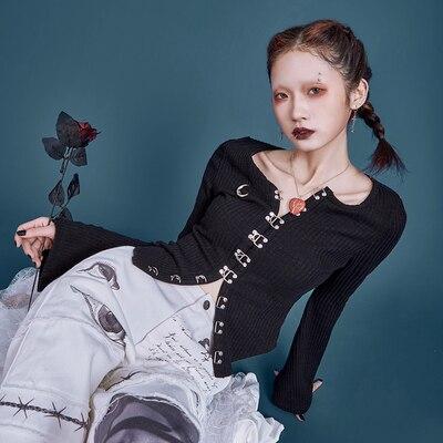 Весна Осень Новый женский Готический вязаный Harajuku панк принт Луна тонкий винтажный кардиган однобортный Топ с расклешенными рукавами