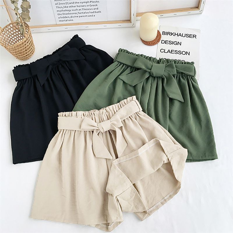 Women Solid Color Casual Shorts Wide Leg Elastic High Waist Ladies Summer Loose Shorts