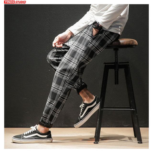 Dropshipping Japanese Streerwear Men Plaid Pants 2020 Autumn Fashion Slim Man Casual Trousers Korean Male Harem Pants 14