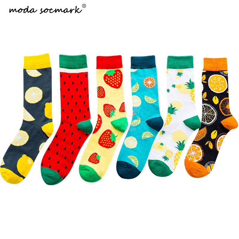 Moda Socmark Harajuku Happy Socks Men's Funny Combed Cotton Dress Casual Wedding Socks Colorful Novelty Skateboard Socks Women