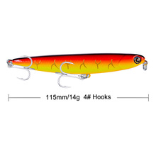 1Pcs YUZI QB007 Pencil Fishing Lures 11cm 14g Artificial Hard Bait 3D Eyes Treble Hooks Plastic Wobbler Tackle