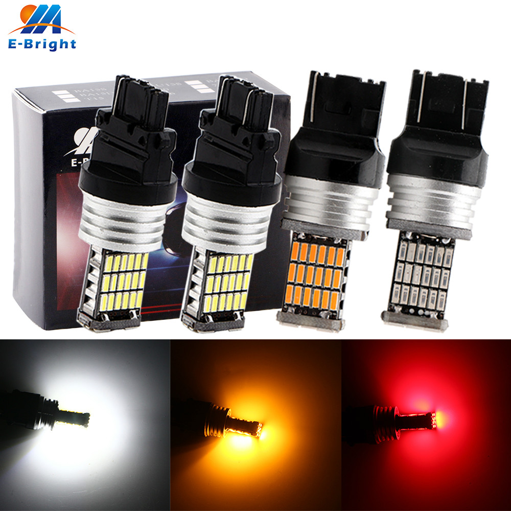 2X Canbus No Error T20 7440 7443 4014 45 SMD 3156 3157 Amber Red White Cars LED Bulbs Turn Signal Parking Reverse Backup Light image
