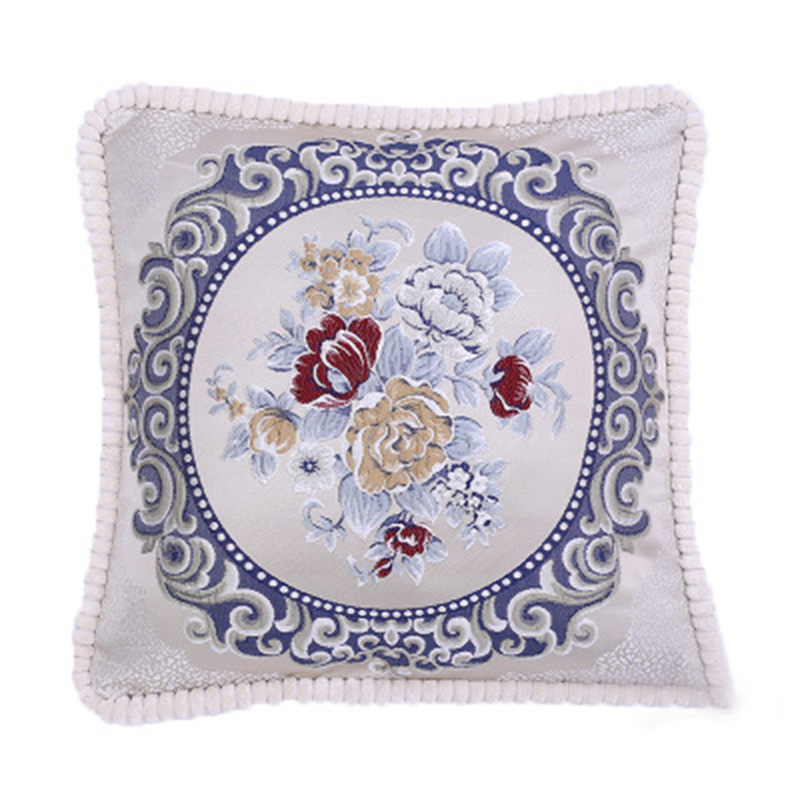 1Pc Floral Ribbon Embroidery <font><b>Pillow</b></font> <font><b>Cases</b></font> Cushion Covers Home Decoration <font><b>50*50cm</b></font> image