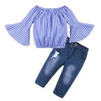 2019 г. Взрывные модели, европейский и американский стиль, рубашка в полоску с открытыми плечами для девочек + джинсовый костюм для девочек лет...