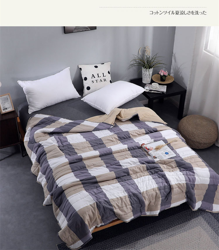 Plaid Air Conditioning Throw Blanket Summer Cotton Thin Blankets for Beds Office Sofa Towel Quilt Good Quality Tv Blanket-1