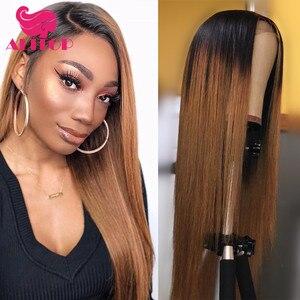 ALITOP, 13x6, парики из натуральных волос на кружеве, 150% индийские волосы remy, предварительно выщипанные 1B 27, Омбре, медовый блондин, коричневый, Дл...