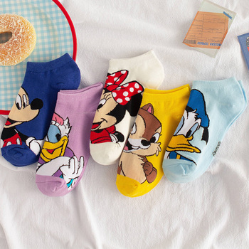 Disney 1pair women Boat socks Mickey cute cartoon Japanese Korean sweet cotton socks spring and summer wild short tube socks