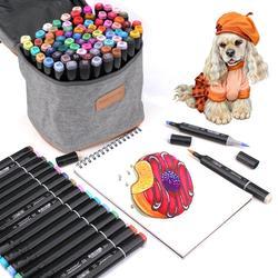 80 цветов, двойная маркерная ручка, цветная авторучка, художественный маркер и кисть, текстовыделитель, ручка для взрослых, Раскрашивание, Ру...