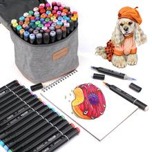 80 Colors Dual Markers Brush Pen, Colored Pen Fine Point Art Marker & Brush Highlighter Pen for Adult Coloring Hand Lettering