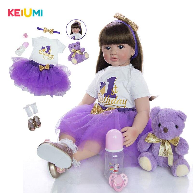 Горячая Распродажа, 60 см, кукла для новорожденных девочек, мягкая силиконовая ткань, Реалистичная детская игрушка, подарок на день рождения,...