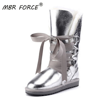 MBR FORCE High Quality Snow Boots Women Sheepskin Leather Shearling Wool Fur Lined Girl Winter Shoes Waterproof Black - discount item  68% OFF Women's Shoes