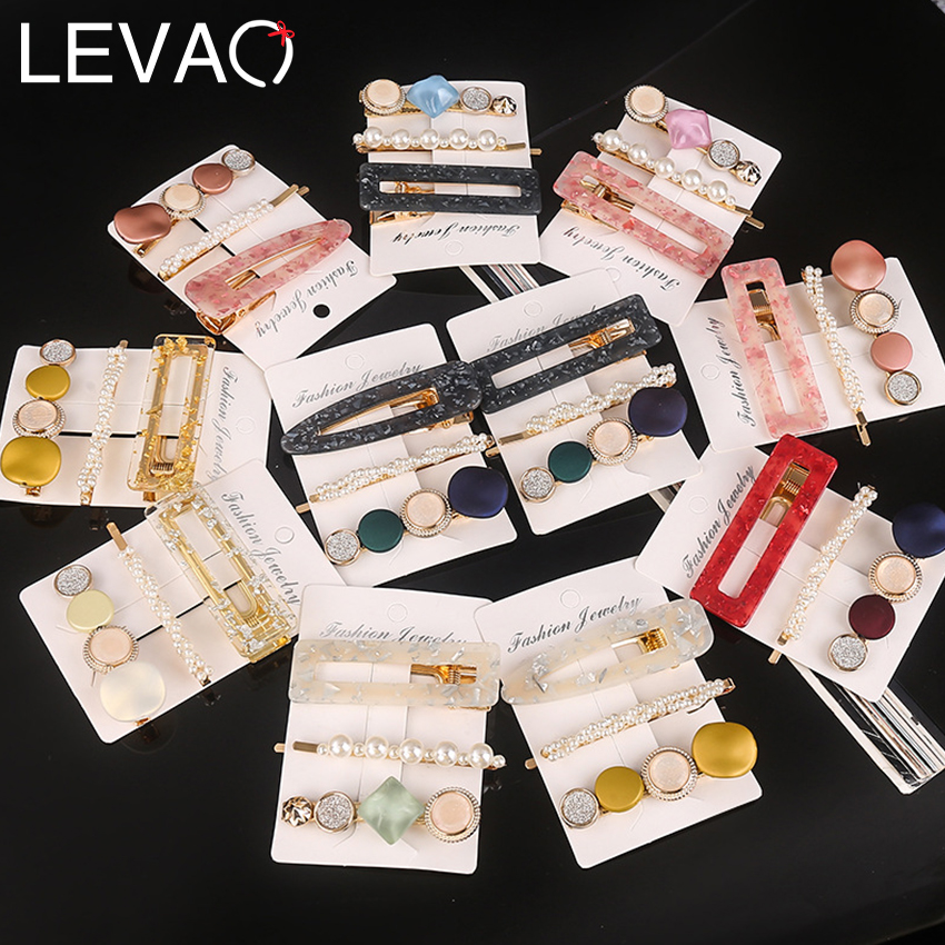 Levao 3Pcs Acetate Hollow Hair Clip Leopard Marble Textured Waterdrop Geometric Hairpin 2020 New Women Barrette Hair Accessories