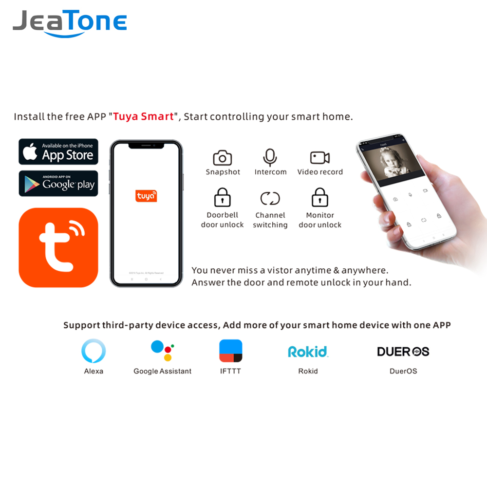 Купить с кэшбэком TuyaSmart APP IP WIFI Video Doophone Intercom POE System 7''Touch Screen monitor with doorbell support Password/RFIC Card 125MHZ