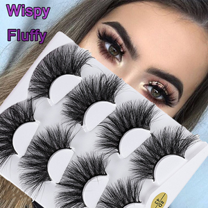 4 Pairs 8D Faux Mink Hair False Eyelashes 25mm Crulty-free Extension Lashes Natrual Long Wispies Fluffy Multilayers Eyelashes(China)