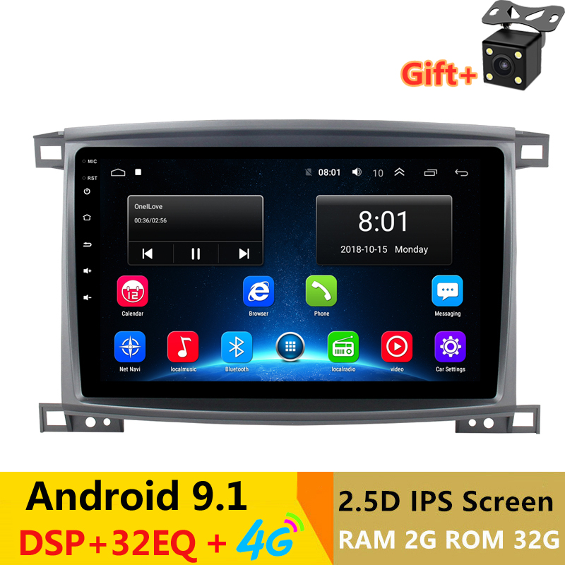2 din android 9.0 car radio auto stereo for <font><b>Toyota</b></font> Land Cruiser <font><b>LC</b></font> <font><b>100</b></font> 2002 03 04 2005 2007 navigation GPS DVD Multimedia Player image